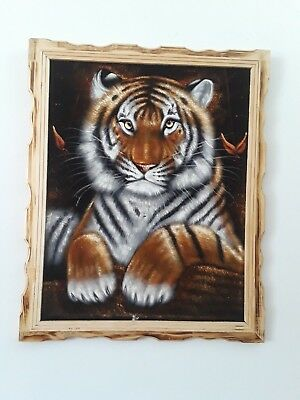 "TIGER , Hand Painted , VELVET PAINTING , 18"" BY 22"" W , FRAME , Home decor ,"