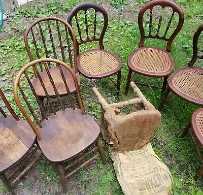 lot 6 Antique/Vintage Solid Wood Cane Seat Dining kitchen Side Accent Chairs