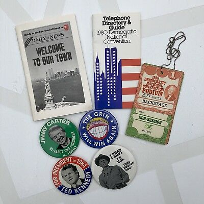 1980 Democratic Convention Memorabilia Buttons Badge Tag Pass Carter Kennedy