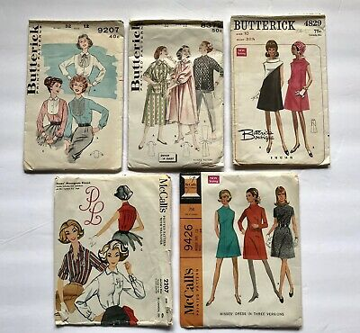 Vintage 50's-60's Sewing Patterns Size 10-14 Misses Dresses Shirts Lot Of 5