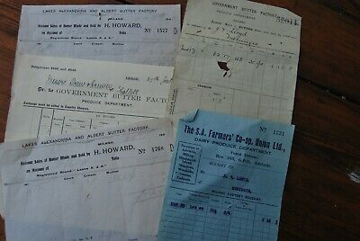 5 Old dockets Butter Factories Dairy South Australia early 1900's