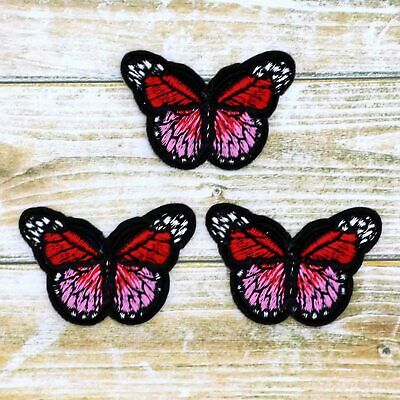 Red Mini Small Monarch Butterfly Embroidered-Iron On Patches bulk/Sew Applique
