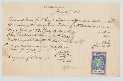 OLD Invoice for droving 570 sheep to Adelaide South Australia 1903 w duty stamp