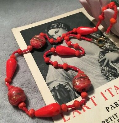Antique Vintage Art Deco Italian Coral red Art Glass Spindle Bead Necklace