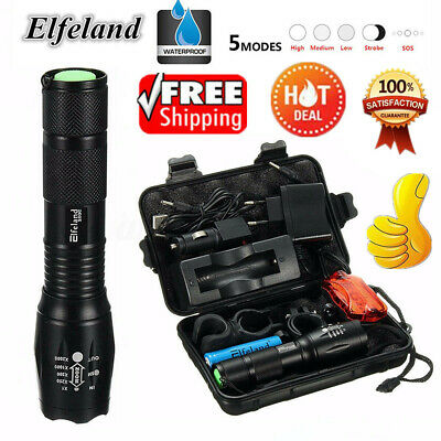 90000LM Tactical T6 LED Flashlight Zoomable 18650 Torch Lamp Light Charger