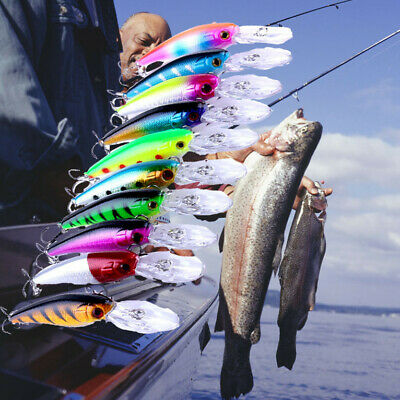 Lot 10Pcs Minnow Fishing Lures Bass CrankBait Crank Bait Tackle Hooks Tools