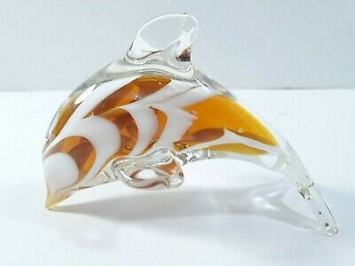 Blown Glass Dolphin Paperweight Figurine Clear Glass with Swirl Pattern UEC