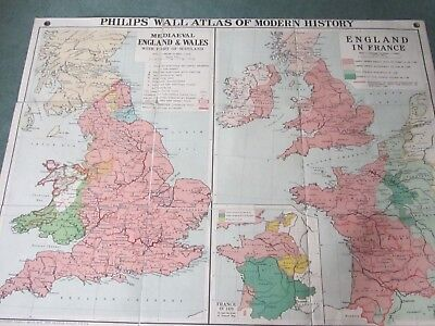 Vintage/Antique? Phillips Wall Atlas of Modern History - Medieval/England in Fra