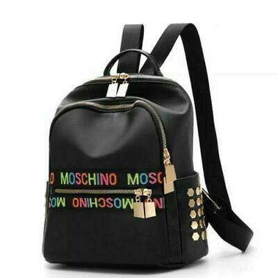 MOSCHINO NEW Women Small Backpack Travel Nylon Handbag Shoulder Bag Black