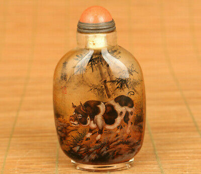 rare Old glass inside hand painting pig statue bamboo snuff bottle noble gift