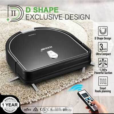 Maxkon Robot Vacuum Cleaner 1.2Kpa Remote-Control Self-Charged Sweeper  Black