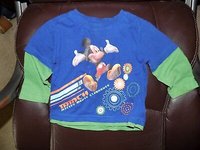 Disney Mickey Mouse Clubhouse Vintage Blue/Green Long Sleeve Shirt Size 18 Mon.