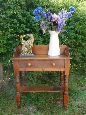 Antique Victorian Pine Tray Top Washstand Side Table