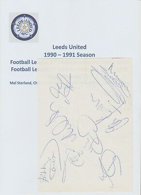 Leeds United & Arsenal 1990-1991 Season Autographed Book Page 10 X Signatures