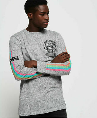 New Mens Superdry Ticket Type Oversized Long Sleeve T-Shirt Track Grey Grindle