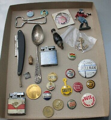 Junk Drawer Lot Coke Opener, Political Buttons, Straight Razor Pinback Buttons