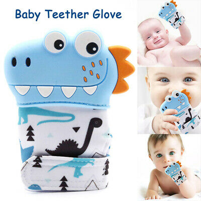 Infant Silicone Dinosaur Baby Teether Gloves Cartoon Baby Mitt Tooth Mitten Toys