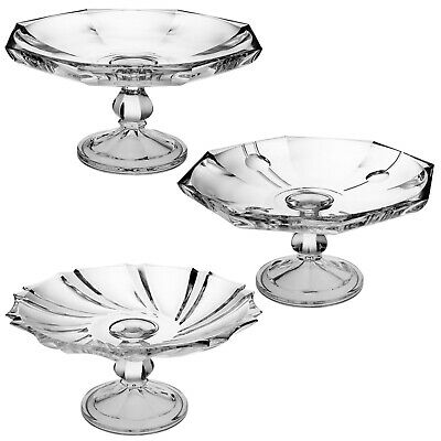 Large Crystal Glass Dish Serving Cake Plate Footed Stand Decorative Clear Tray
