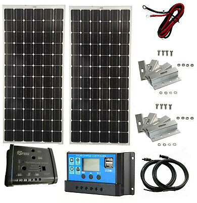 200W Solar Panel kit 12V battery Charger 20A dual Controller Caravan Boat MPPT