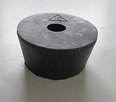 NEW #10 laboratory stopper-tapered rubber plug with 1 larger hole ~11-12 mm
