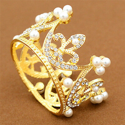 Wedding Bridal Crown Jewelry Pearl Queen Princess Crown Crystal Hair Accessory T