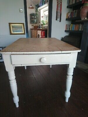 Antique Victorian scrub top pine planked TABLE kitchen farmhouse Seats 4