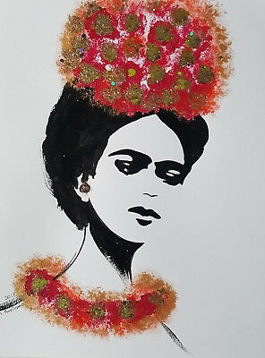 FRIDA KAHLO - RED FLOWERS  :: ORIGINAL -  Abstract POP MEXICAN FOLK ART Style
