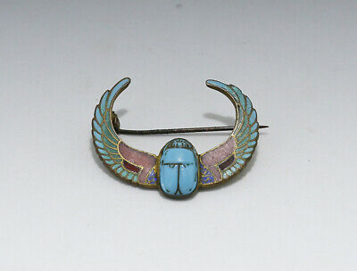 Antique Egyptian Revival Glass Scarab Enamel Wing Brooch Pin