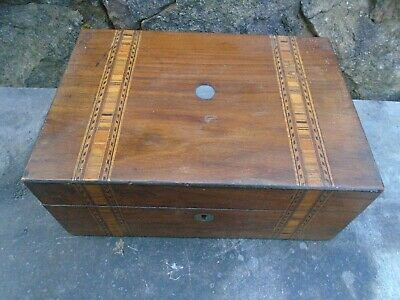 Antique, Wooden Sewing Box With Tunbridge Style Banding