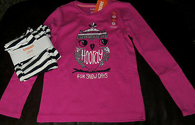 Gymboree Bundled and Bright Play By Heart owl top & navy striped leggings NWT 5