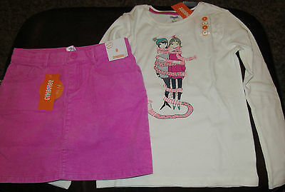 Gymboree Play By Heart Bundled and Bright girl in scarf top & cord skirt NWT 7