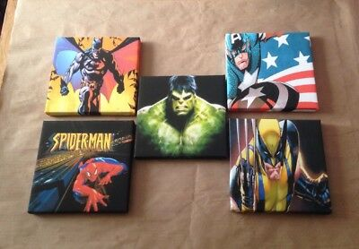 Job Lot Of These 5 Marvel & DC Super Hero Canvas Pictures