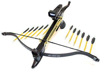 80lbs Pistol Self Cocking Crossbow Package Arrows Hunting bow Red Dot Scope