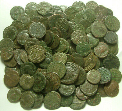 Lot of 4 genuine Ancient Roman coins 4 Century AD Soldiers battle Wreath Victory