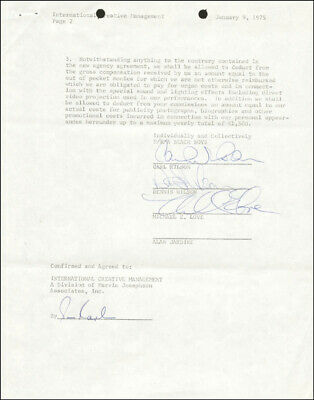 The Beach Boys - Contract Signed 01/09/1975 With Co-Signers