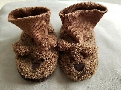 Toddler Boy's Baby Gap Brown Bear Slippers Shoes Size S Small Preowned