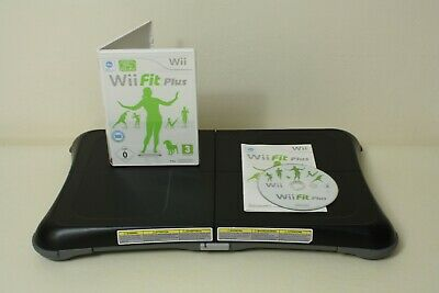 Official Black Nintendo Wii Fit Balance Board & Wii Fit Plus Game ~ FREE P+P
