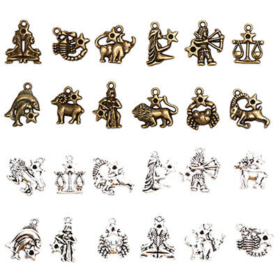12Pcs/Set Vintage 12 Constellation Charm Pendant DIY Craft Jewelry Findings MOUS