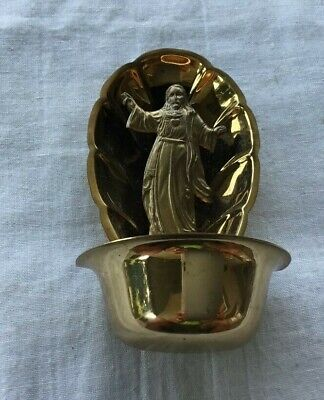 Vintage Metal Religious Holy Water Font brassy look