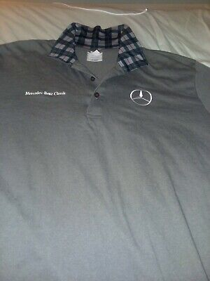 Mercedes Benz classic  Gray Short Sleeve Polo Shirt Men's XLarge FPS Apparel