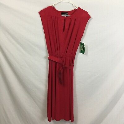 Strait Lane Vintage Red Sheath Dress With Keyhole Neck Belted Waist Size 6