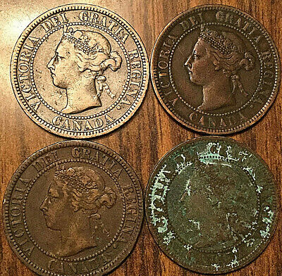 1891 1900H 1900H 1901 Canada Large Cents Vickies Lot Of 4 Coins