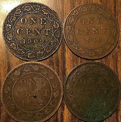 1882H 1896? 1909 1910 Canada Large Cents Vickies Edward Lot Of 4 Coins