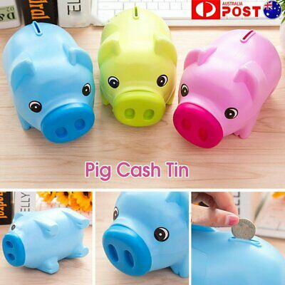 Toy Kids Gift Coin Money Save Openable Box Pig Cash Tin Piggy Bank Plastic JO