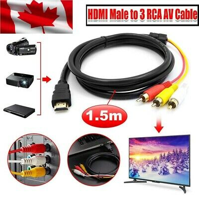 HDMI to RCA Cable 5FT/1.5M HDMI Male to 3-RCA Video Audio AV Component Cable NEW