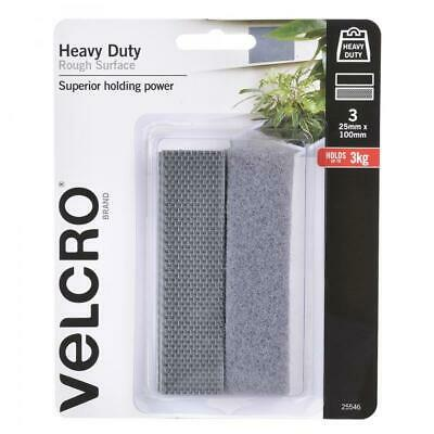 VELCRO® Heavy Duty Tape - Supreme Strength - Grey - 25mm X 100mm - 3 Pk Adhesive