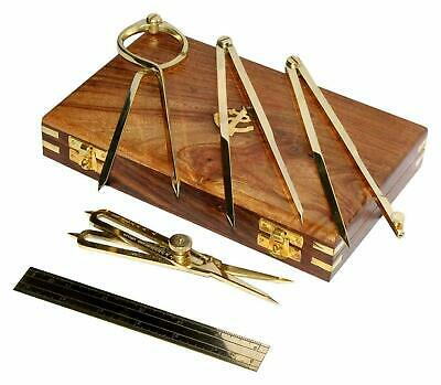 Proportional Divider Set of 5, Full Brass dividers with Wooden Box For Drafting
