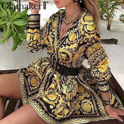 New Baroque Victorian Italian Medusa Pattern Gold Black Vintage Style Robe DRESS