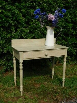 A Good Antique Country Pine Painted Side Lamp Hall Table