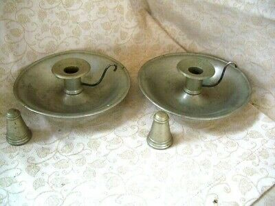 Antique Pair 'Wee Willie Winkie' NICKEL Portable Chamber Candle Sticks & Snuffer